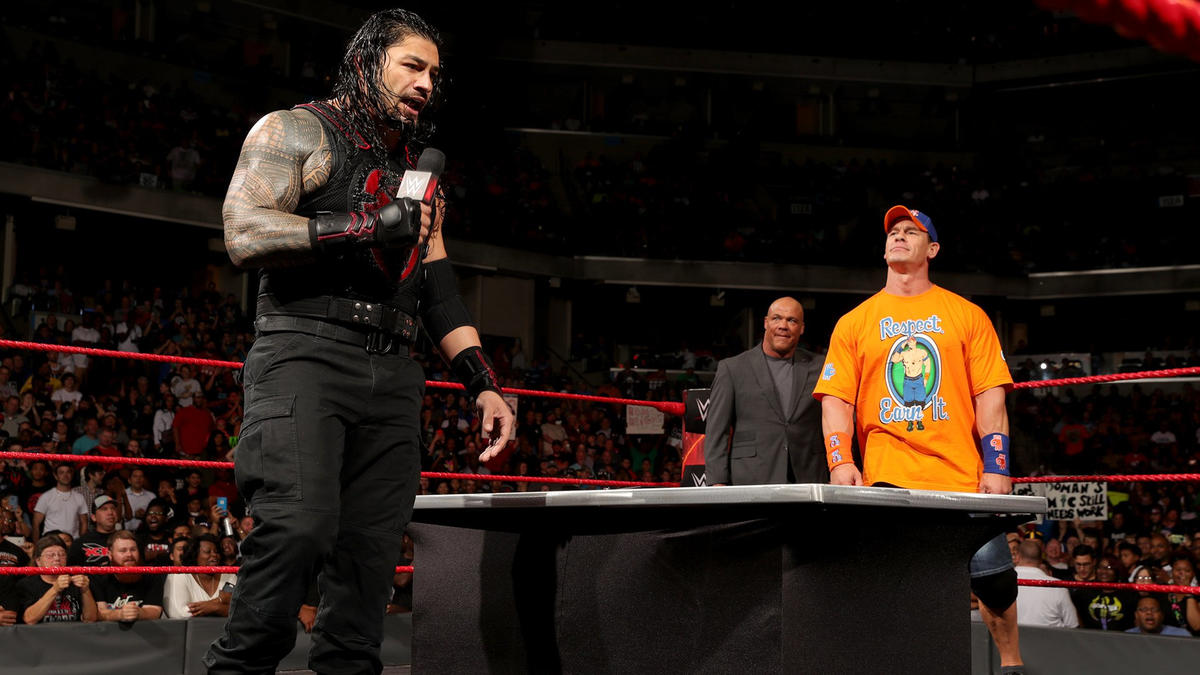 "Reigns labels Cena as a ""backstabbing shark""..."