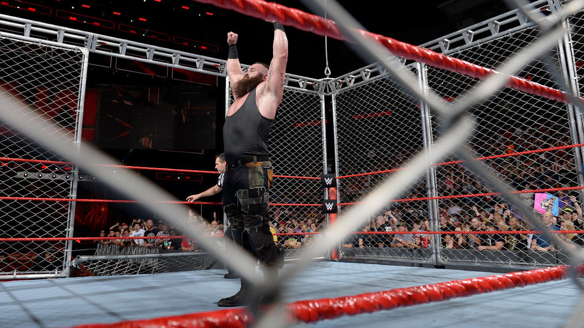 Strowman stands triumphantly as Raw concludes.