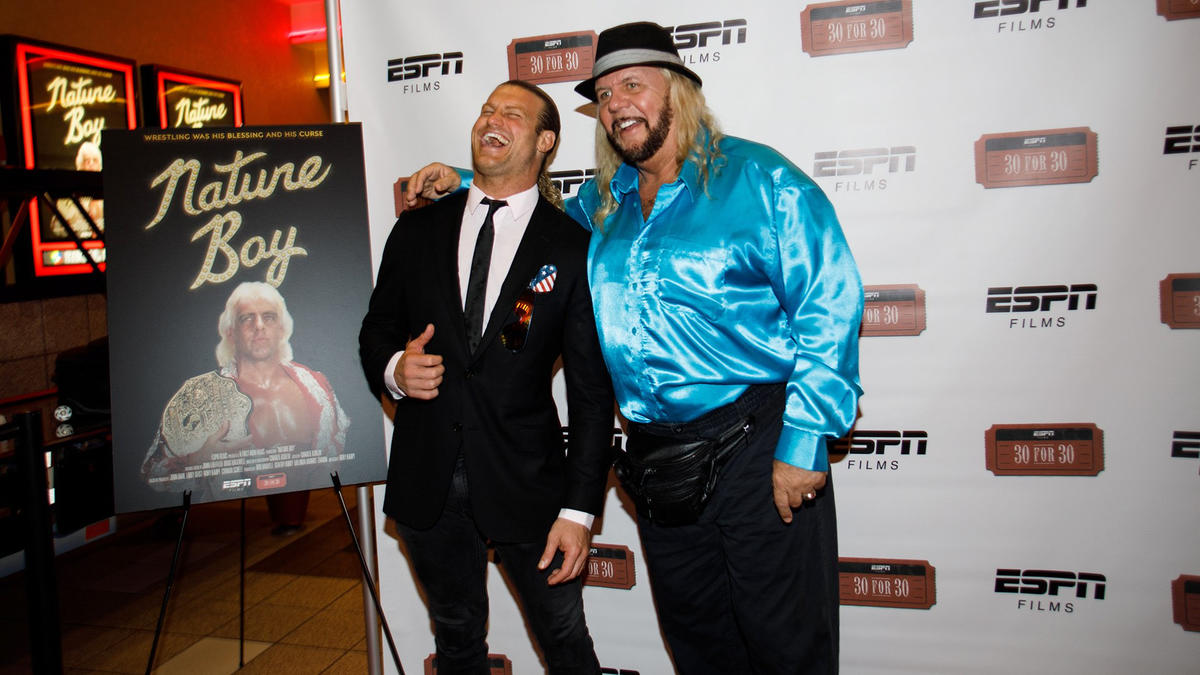 """WWE Hall of Famer Michael """"P.S."""" Hayes and WWE Superstar Dolph Ziggler share a laugh on the red carpet."""