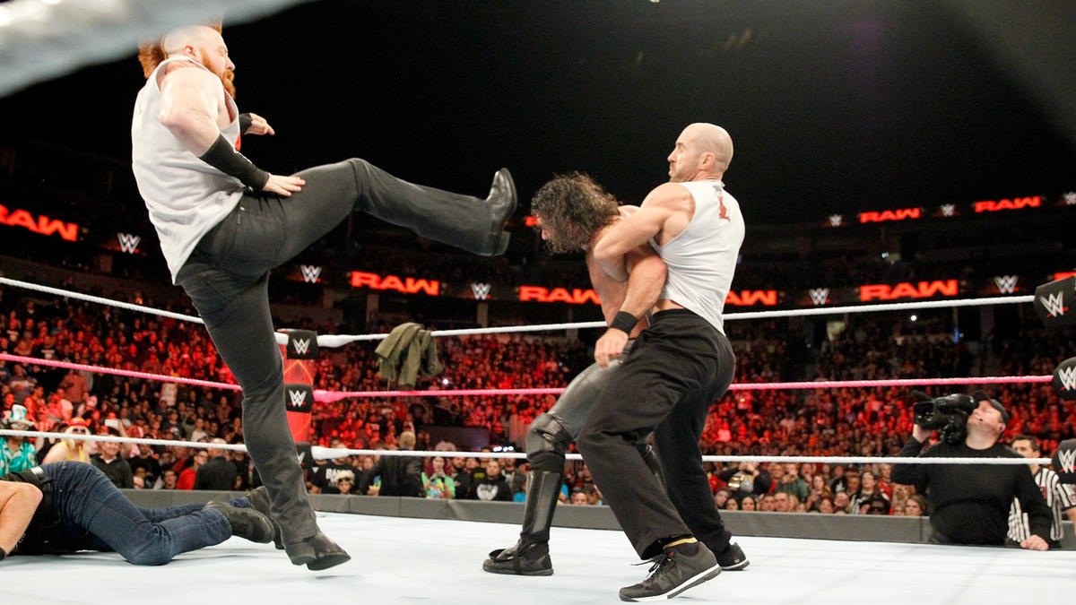 The Swiss Cyborg drops Ambrose with the Neutralizer, and The Celtic Warrior lands a punishing Brogue Kick on Rollins.