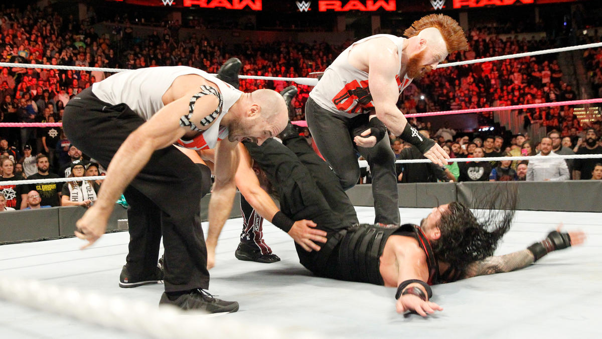 Miz, Sheamus and Cesaro put the exclamation point on their beatdown by taking Reigns out with the Triple Powerbomb!