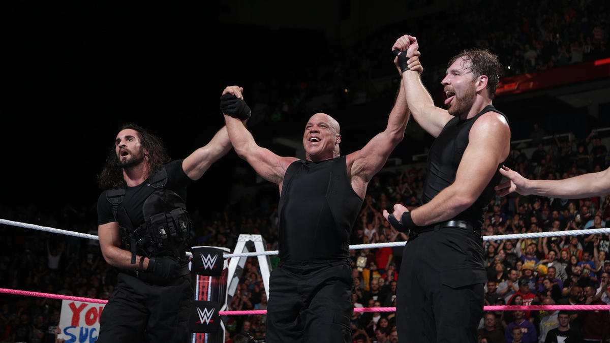 Angle, Ambrose and Rollins are victorious!