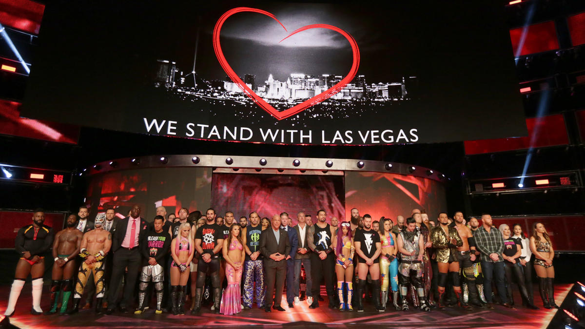 Raw Superstars observe a moment of silence for those lost and affected by the tragedy in Las Vegas.