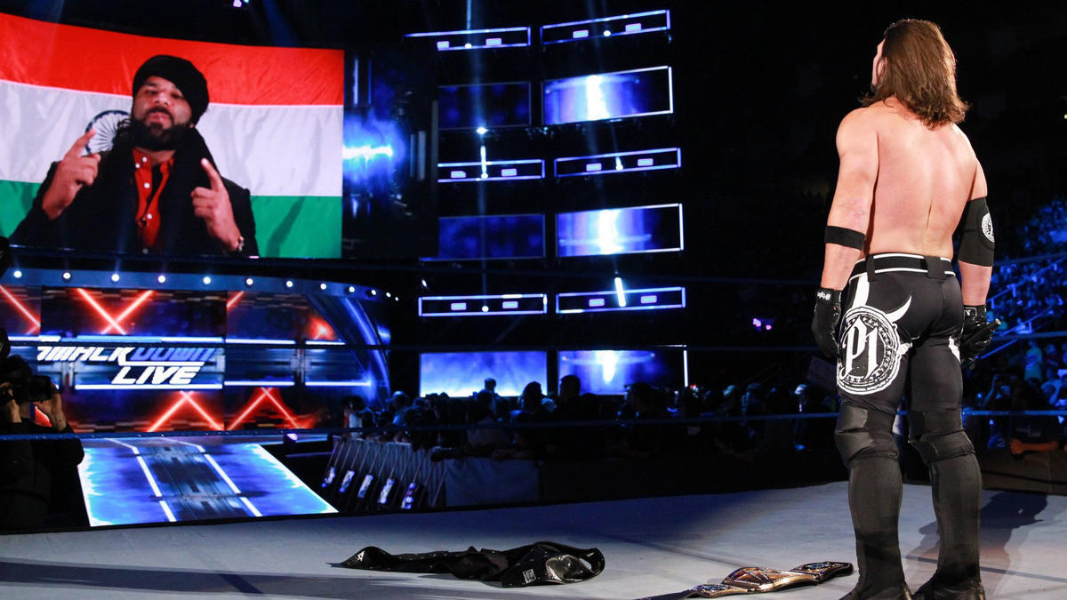 Jinder Mahal appears on the TitanTron...