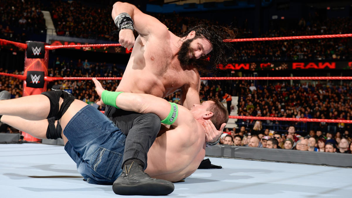 Elias continues to hammer away on Cena and challenges him to a match.