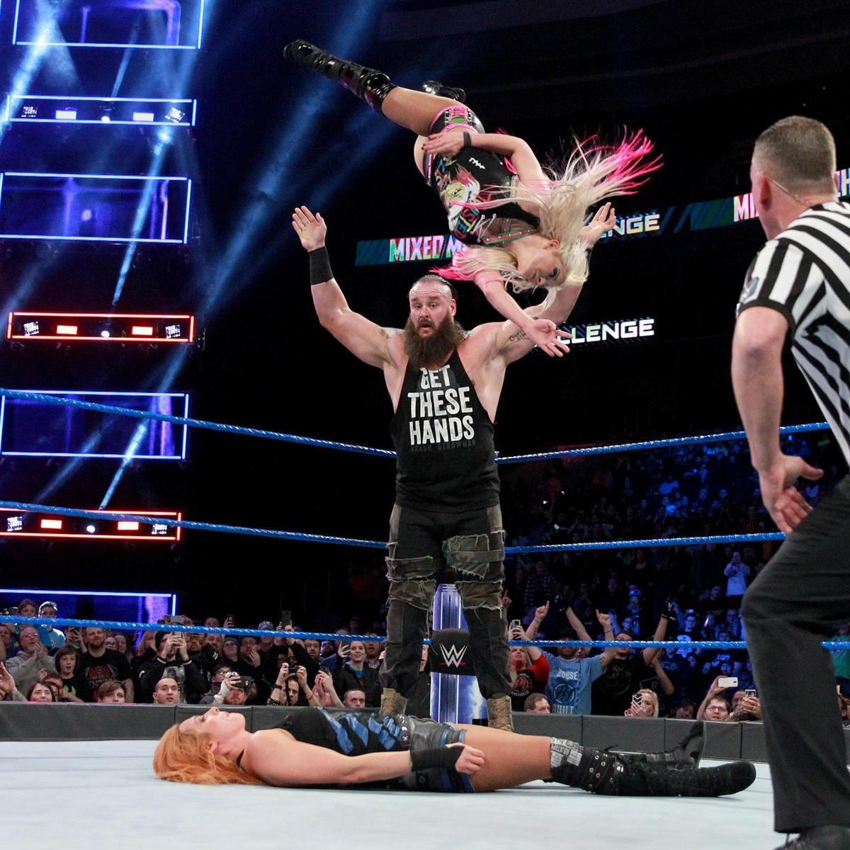 WWE News: Braun Strowman & Alexa Bliss Capture 'Mixed Match
