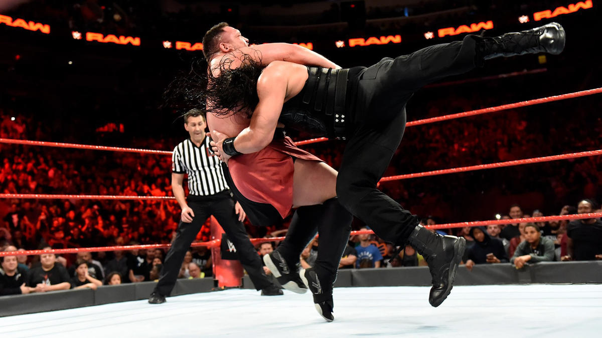Reigns recovers to plant Joe with an earth-shattering Spear!