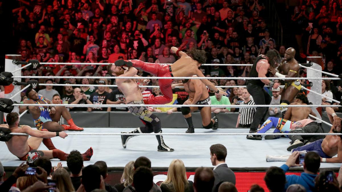 Shinsuke Nakamura enters at No. 14 and immediately changes the tone of the match with a devastating series of strikes.