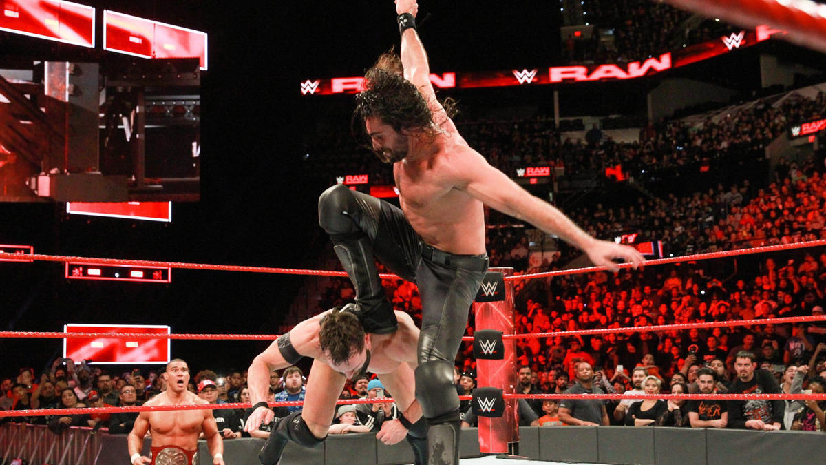 ... and Rollins takes advantage, striking with a move he's used to win many big matches!