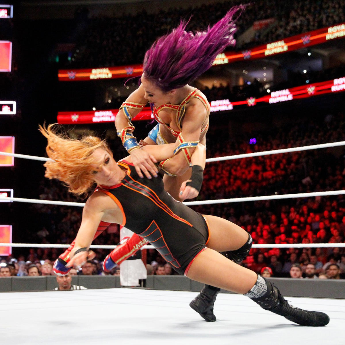 Sasha Banks and Becky Lynch are the first to enter the first-ever Women's Royal Rumble Match!