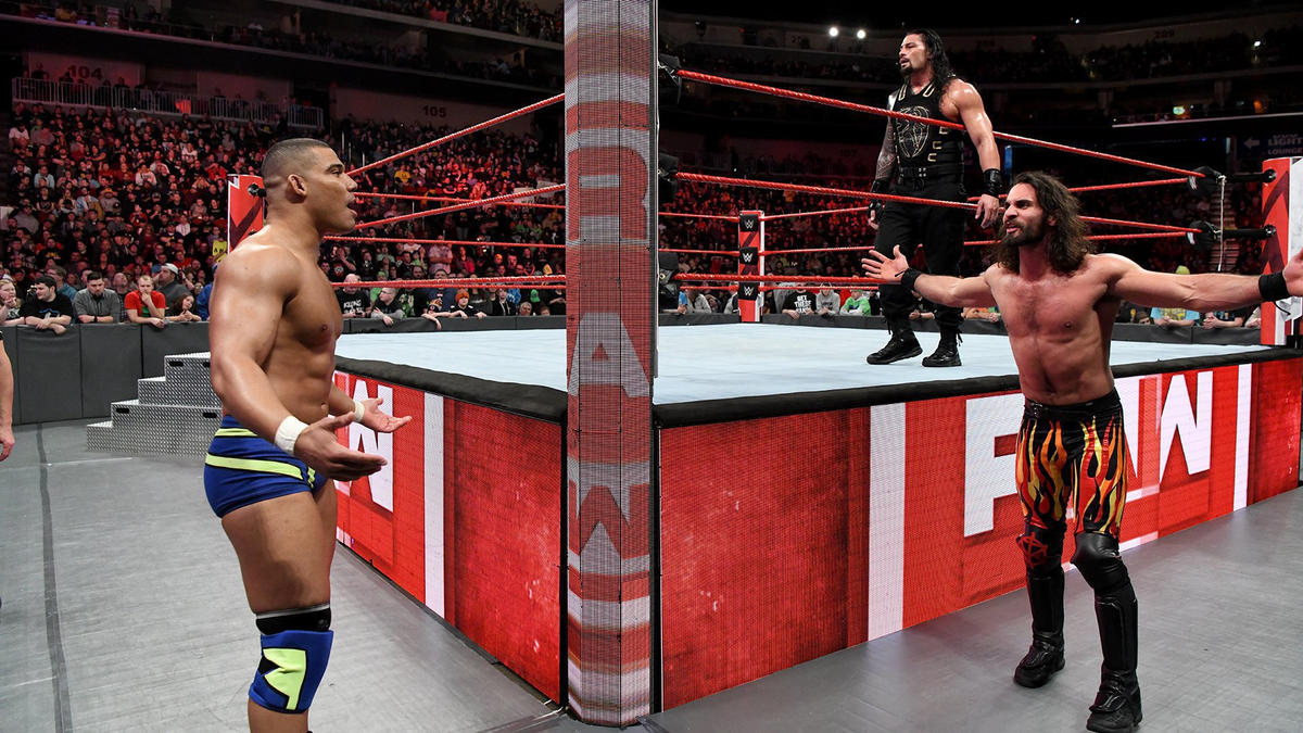 Reigns & Rollins can't believe it, but they are disqualified because of Jordan's interference!