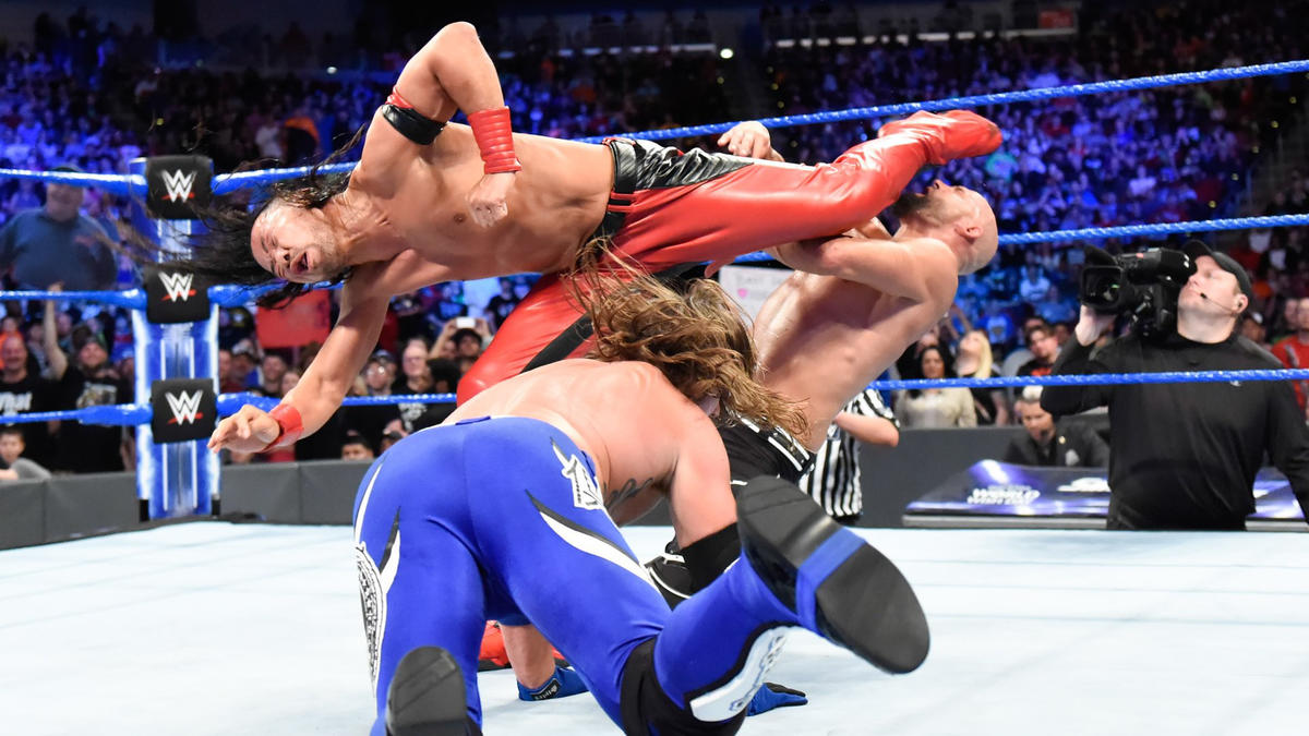 Karl Anderson saves Styles from a Kinshasa, but Nakamura drops Anderson with two Kinshasas while forcing AJ to watch!