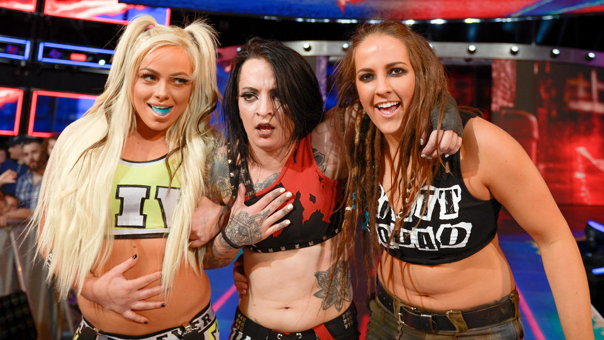 ... and Riott capitalizes on the distraction by dropping Bayley with a nasty Riott Kick for the 1-2-3!