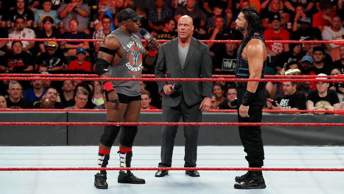Angle announces that the Superstar that wins the multi-person match at WWE Extreme Rules will challenge Lesnar next, and Reigns and Lashley will both be in that match.