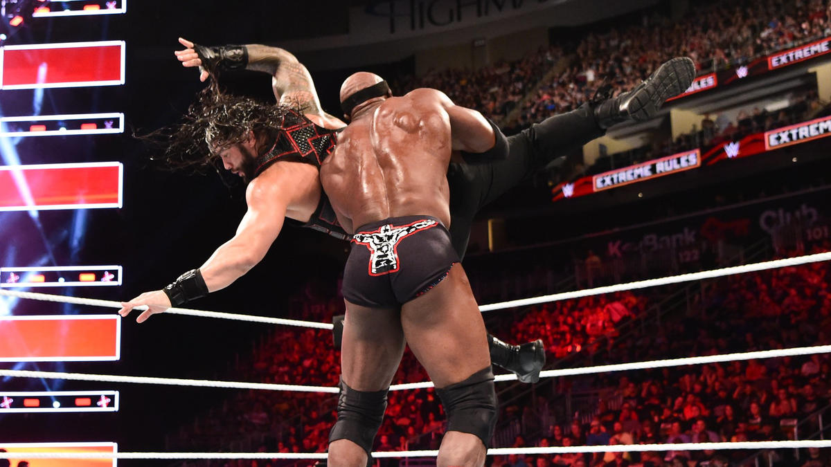 Roman Reigns and Bobby Lashley in action on WWE RAW.