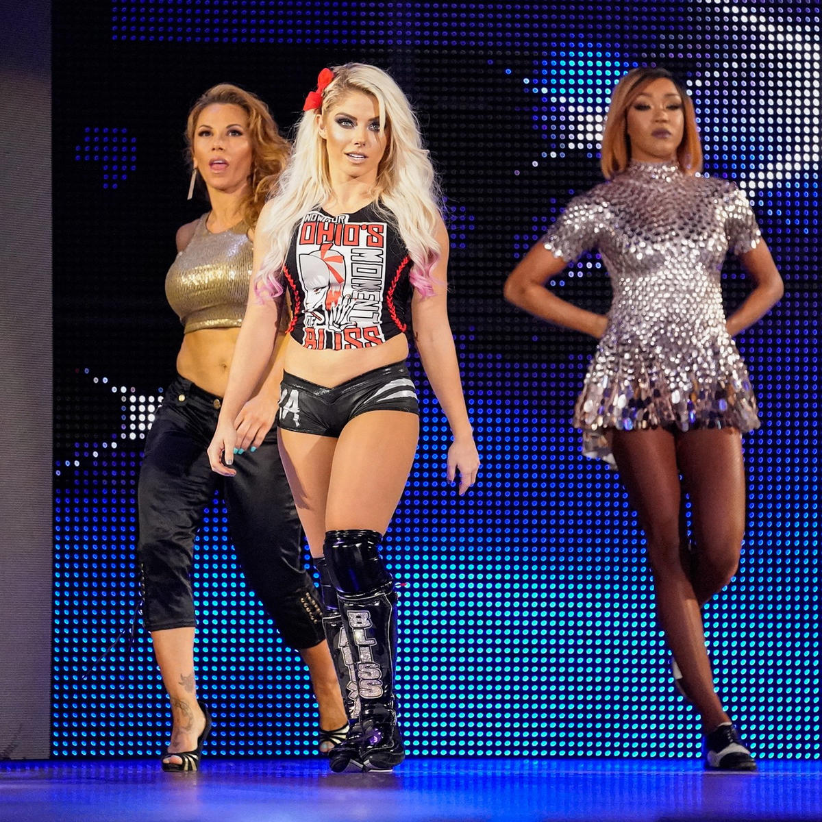 Alexa Bliss, Mickie James and Alicia Fox hit the scene.
