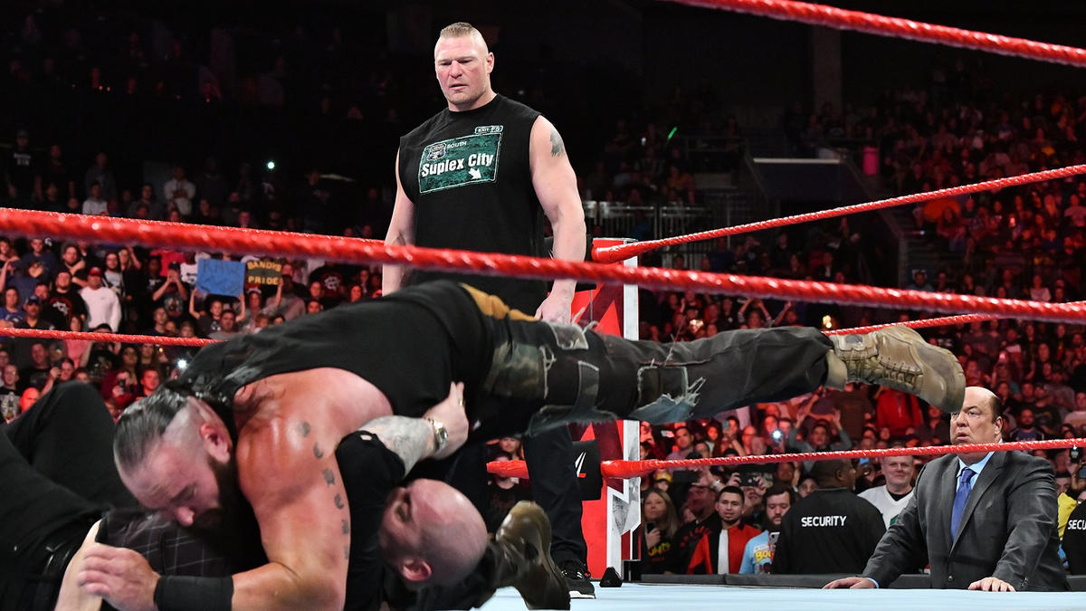 Strowman drops Corbin with three Running Powerslams...