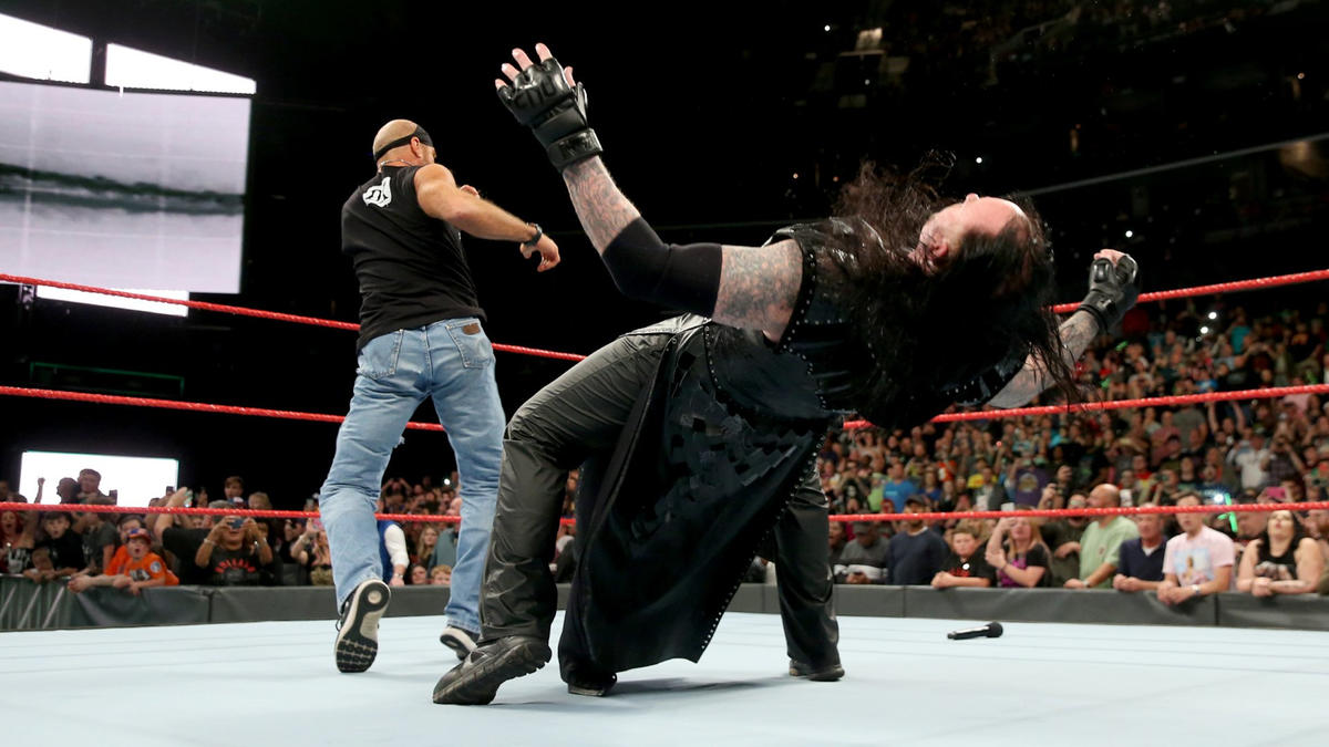 As Kane heads up the ramp to confront Triple H, Shawn Michaels sneaks into the ring and drills Undertaker with Sweet Chin Music.