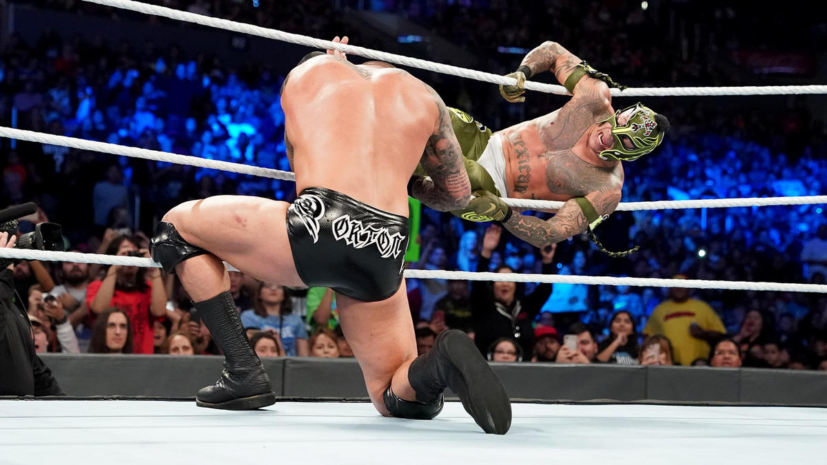 Mysterio connects with the 619, but Orton rolled to the outside and dropped an incoming Mysterio with an RKO!