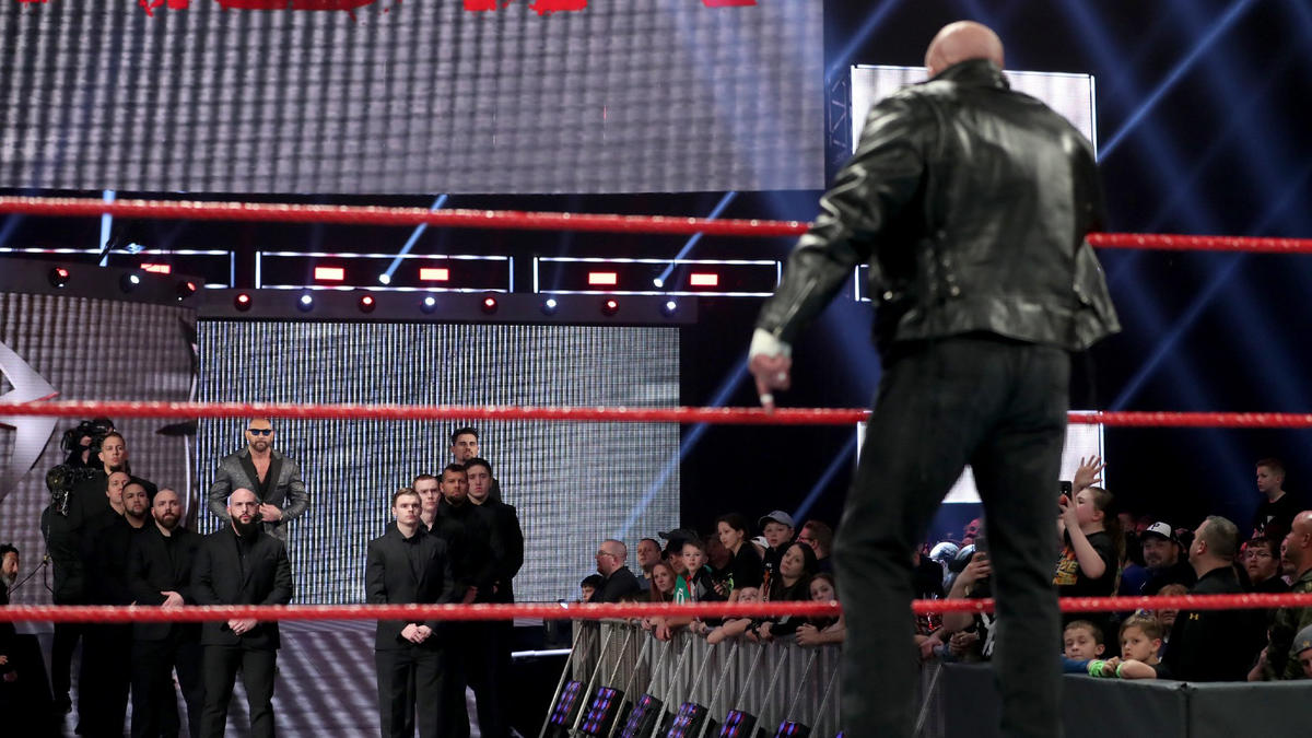 Triple H asks Batista how many times he's quit and walked away from this company, and he vows to tear his way through the security and beat up Batista on the stage.