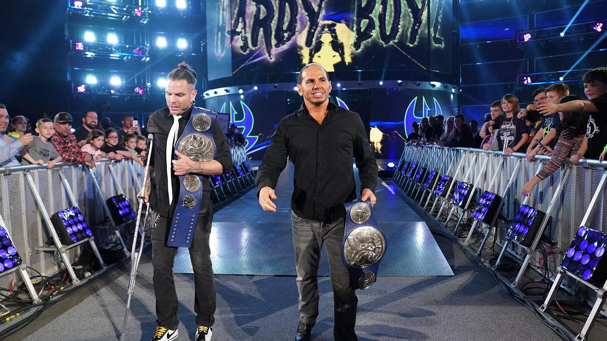 SmackDown Tag Team Champions The Hardy Boyz hit the scene ready to make an announcement.