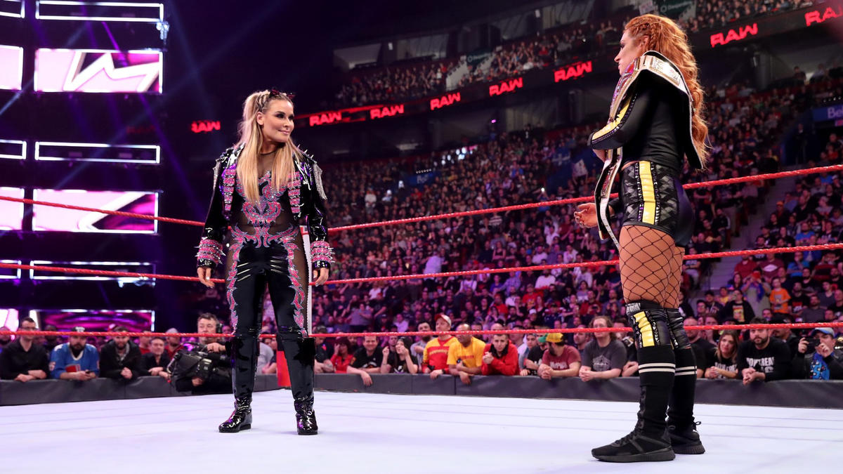 "Natalya congratulates ""Becky Two Belts"" for her recent success, but she's coming after the Raw Women's Title."