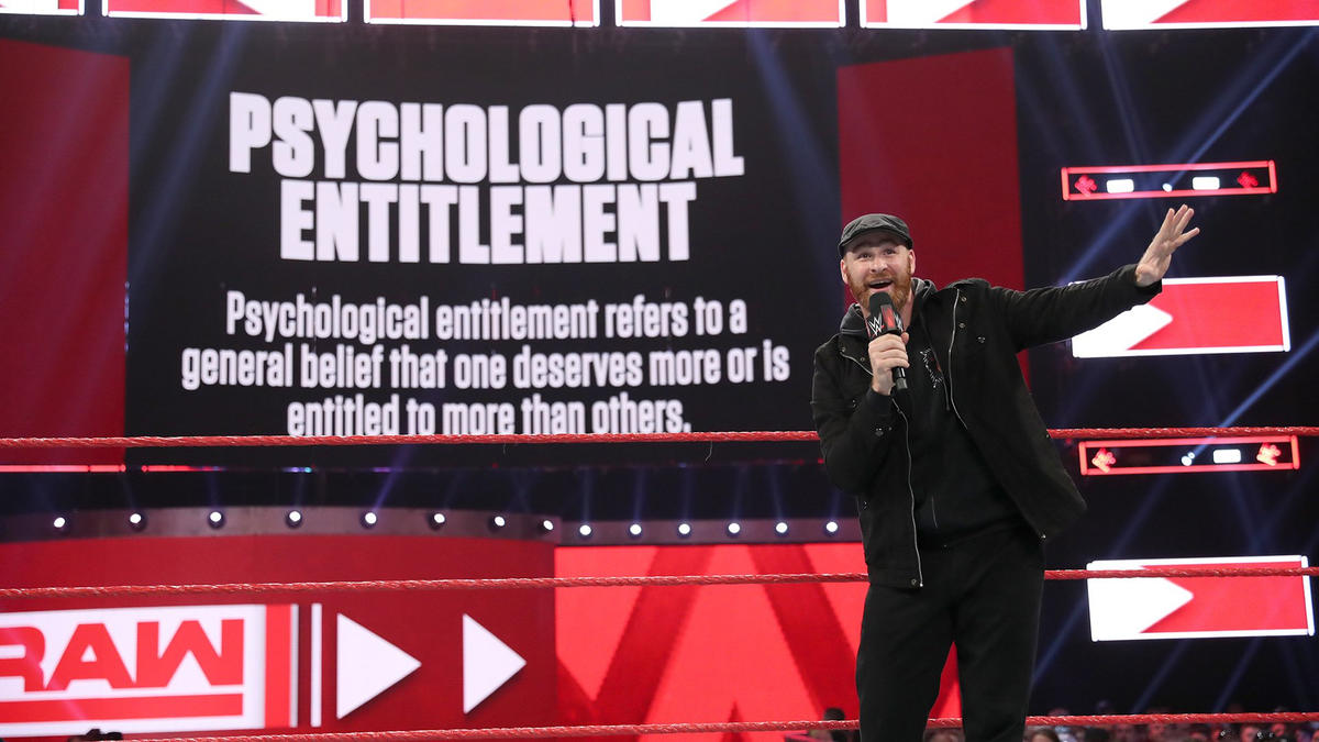 "Zayn asks if the term ""psychological entitlement"" rings any bells."