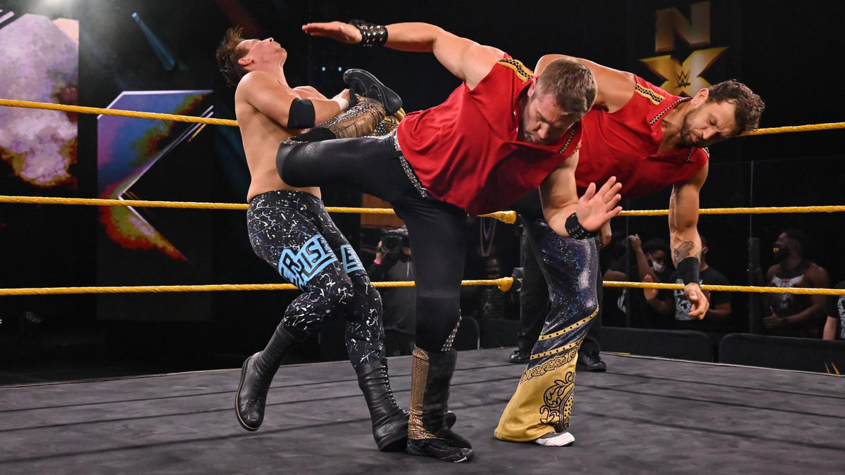Breezango double teaming for the victory