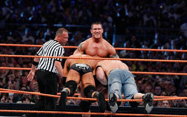 Triple Threat for the WWE Championship: Randy Orton vs. John Cena ...