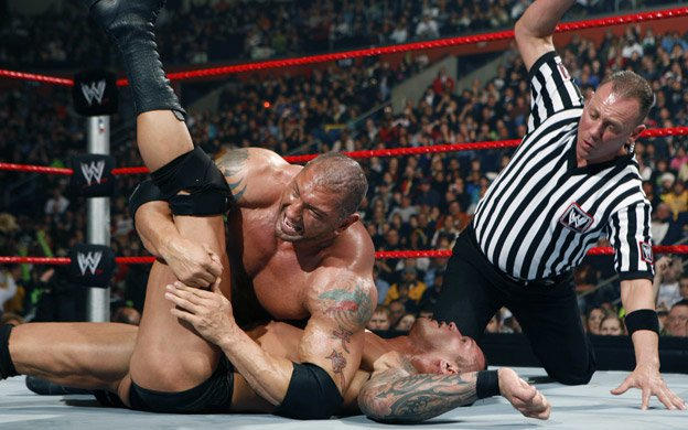 Image result for armageddon 2008 Batista vs Randy Orton