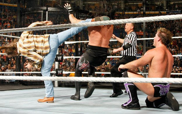 With no disqualifications, HBK hits Sweet Chin Music on Undertaker.