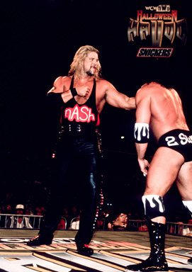 Representing nWo Wolfpack, Kevin Nash battled his former partner, nWo Hollywood's Scott Hall.