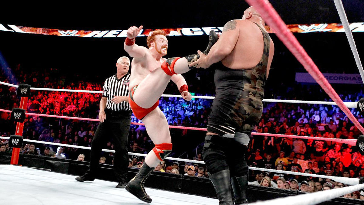 An early attempt at a Brogue Kick by Sheamus backfires.