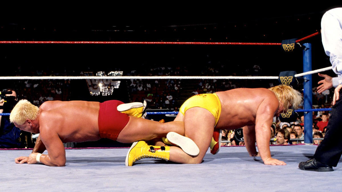 "Royal Rumble 1990: ""Rugged"" Ronnie Garvin and Greg ""The Hammer"" Valentine battled for supremacy in a Figure-Four Leglock during a Submission Match."