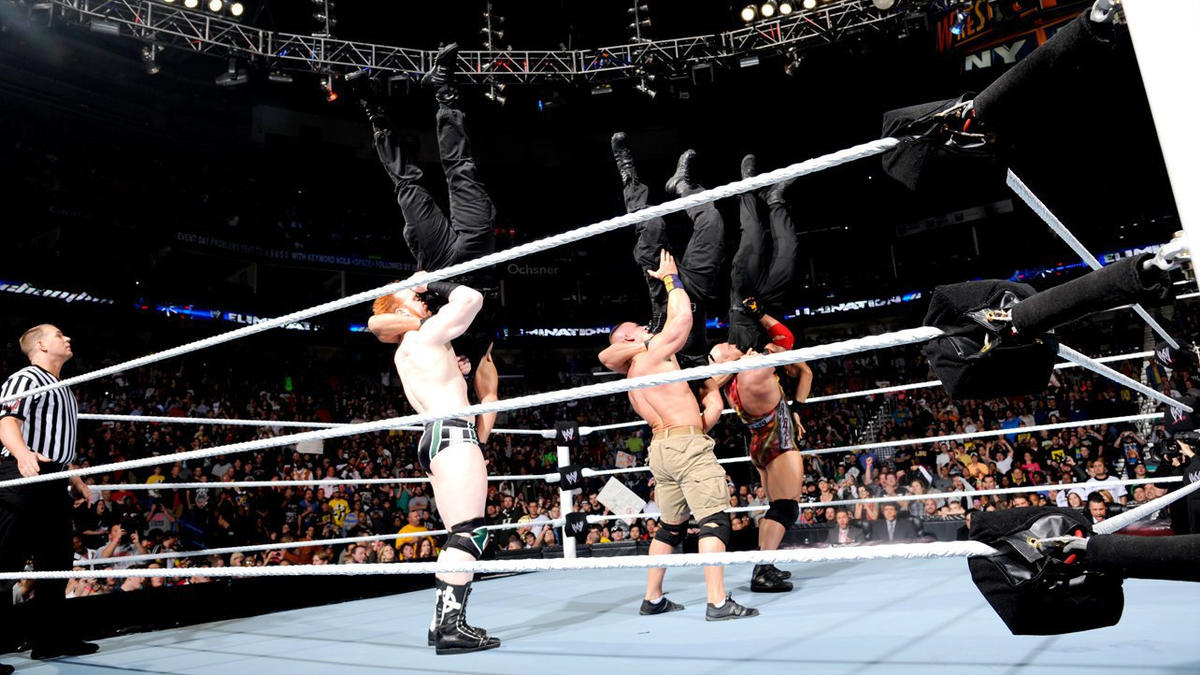 Sheamus, Cena and Ryback gain the momentum early, dropping all three Shield members with synchronized suplexes.