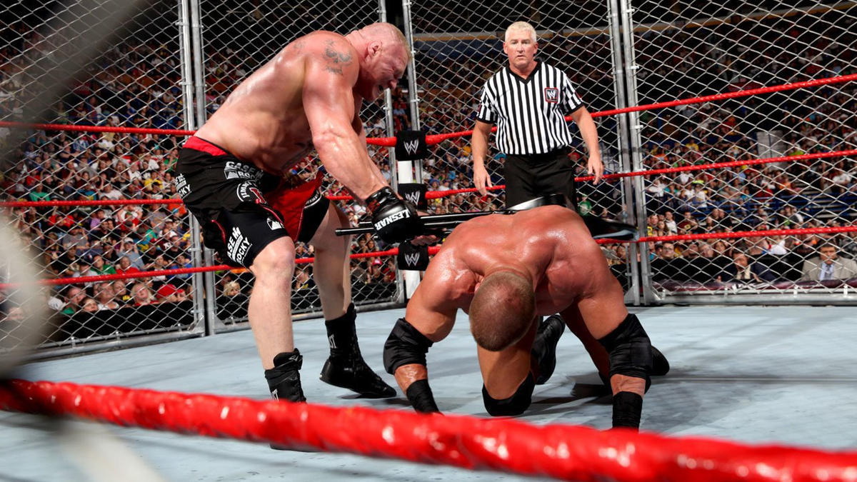 Lesnar turns the tables with the chair.