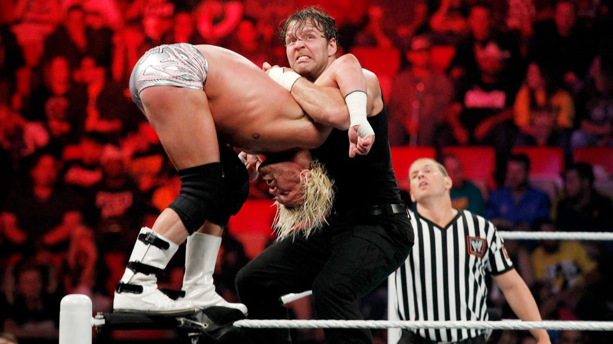 ... Ambrose goes further, delivering an incredible butterfly superplex.