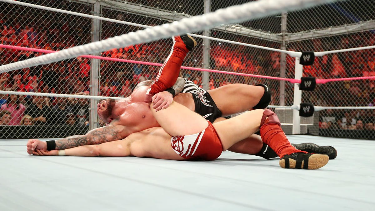 HBK repays Bryan's attack with Sweet Chin Music to the submission expert, and makes the count when Randy Orton capitalizes.