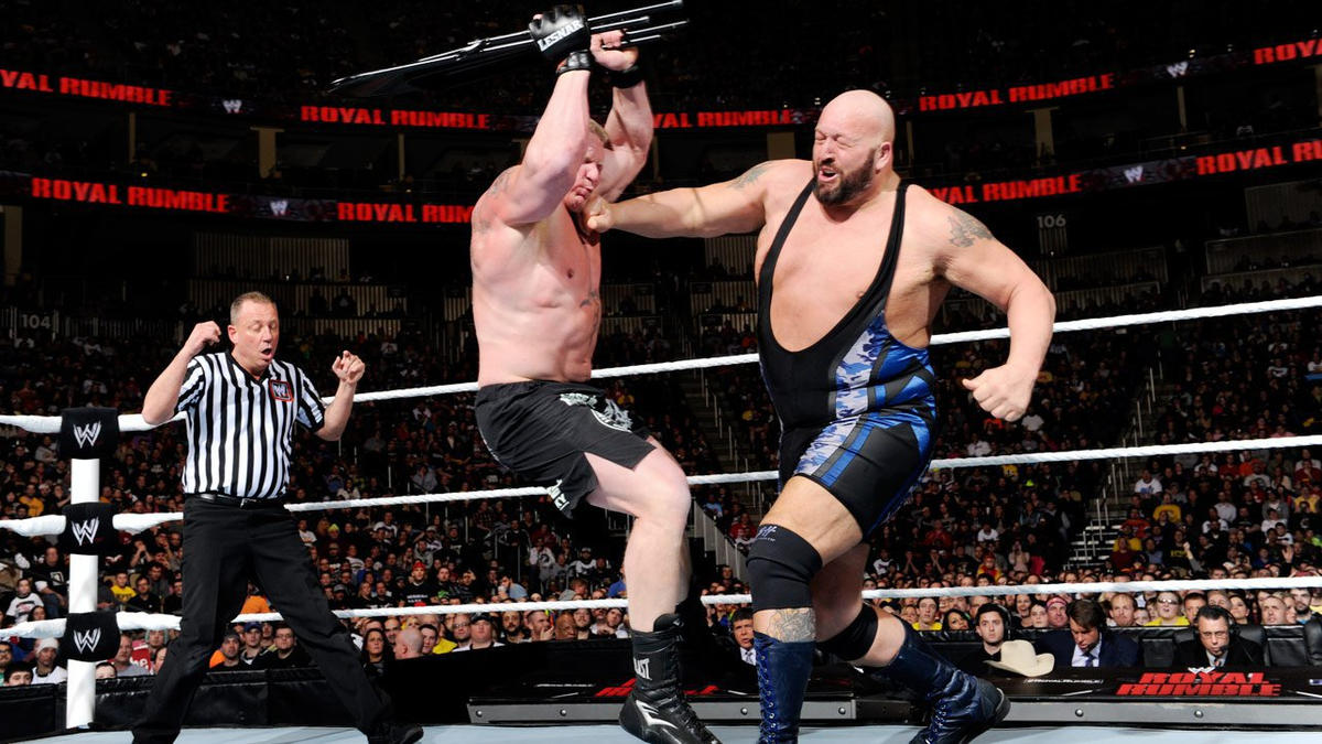 When the match officially begins, Lesnar charges at Big Show, but gets caught with a KO Punch.