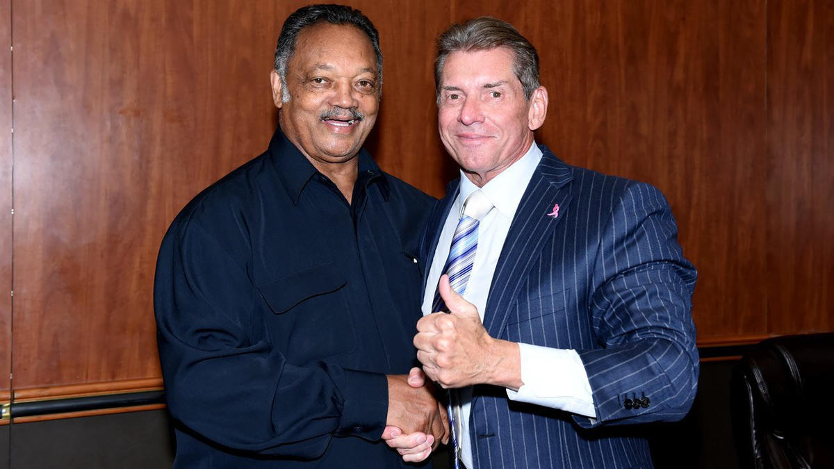 Jesse jackson visits raw wwe jesse jackson poses with mr mcmahon while at raw in chicago wwe photo m4hsunfo