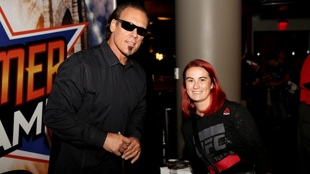 Sting and shawn michaels meet the wwe universe during summerslam wwe photo m4hsunfo Image collections