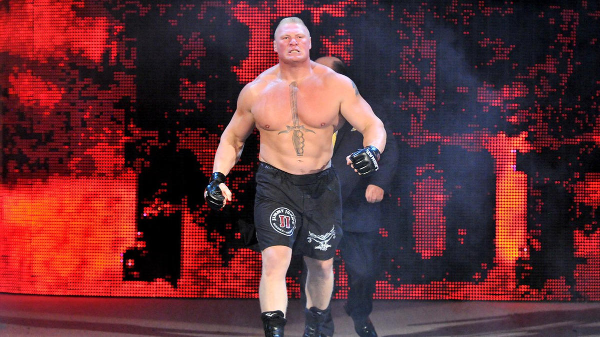 Brock Lesnar Storms To The Ring In Brooklyn NYs Barclays Center WWE Photo