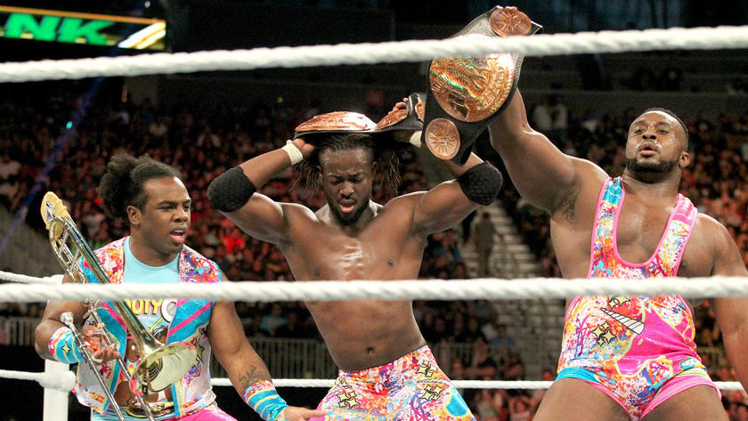 The New Day celebrate a hard-fought victory.