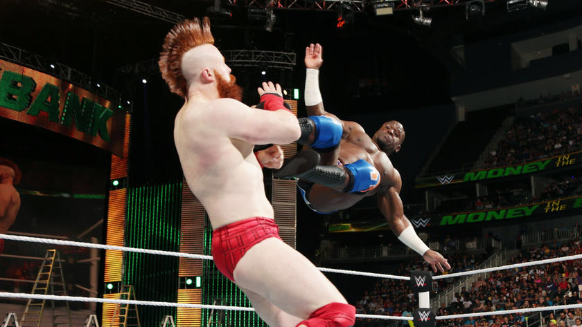 Crews shows off his extraordinary agility, delivering a picture-perfect dropkick.