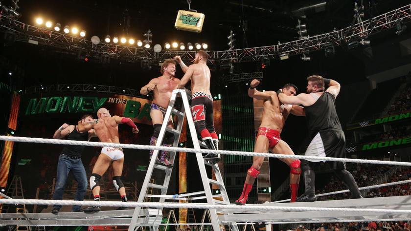 In an incredible moment, all six Superstars battle on top of three separate ladders.