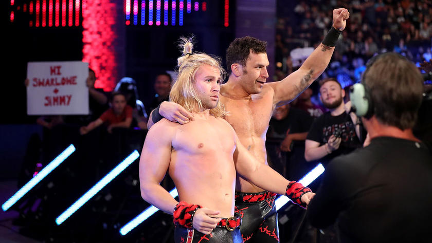 Yet, thanks to interference by Fandango, Breeze is able to counter Jimmy Uso's top-rope splash with a pair of knees en route to snaring the win.
