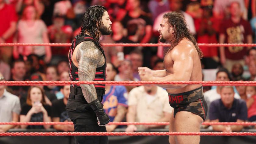 Roman Reigns confronts Rusev after he claims no one can beat him.