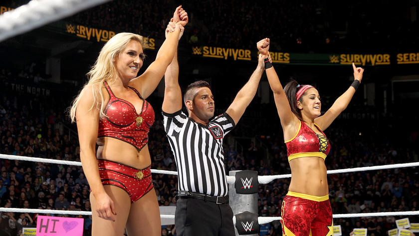Bayley secures the victory for Team Raw after eliminating Becky Lynch.