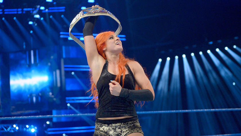 Becky celebrates her controversial victory in Glasgow.