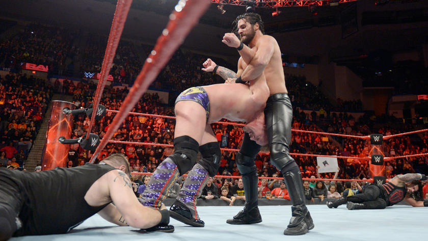 He sets up for the Pedigree on Jericho, but Owens saves his best bud.